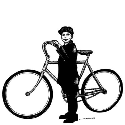 Bike Drawing - Boy With Bike by Karl Addison