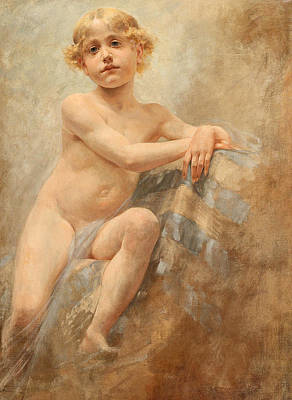 Painting - Boy With Blond Locks by Alois Hans Schram