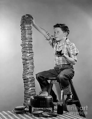 Preteen Photograph - Boy With Huge Stack Of Toast, C.1950s by H. Armstrong Roberts/ClassicStock