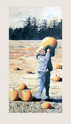Picking Pumpkins Painting - Boy With Pumpkin by Suzanne Fraker