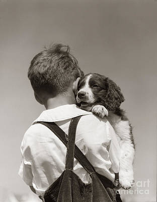 Photograph - Boy With Puppy, C.1930-40s by H Armstrong Roberts ClassicStock