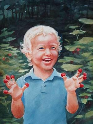 Boy With Raspberries Art Print by Marilyn Jacobson
