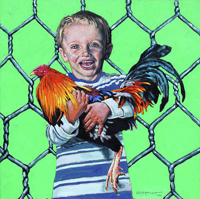 Painting - Boy With Rooster by John Lautermilch