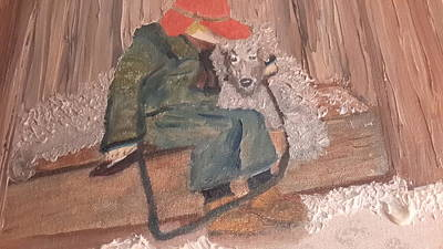 Treasure Box Painting - Boy With Sisters Dog by Cindy  Riley