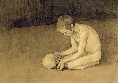 Skull Drawing - Boy With Skull by Magnus Enckell