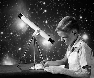 Photograph - Boy With Telescope, C.1960s by H. Armstrong Roberts/ClassicStock