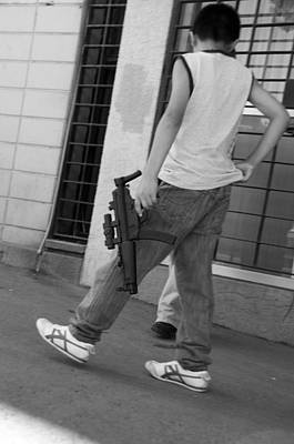 Photograph - Boy With Toy Gun by Lesley Fletcher