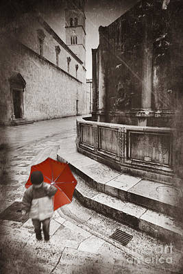 Boy With Umbrella Art Print by Rod McLean