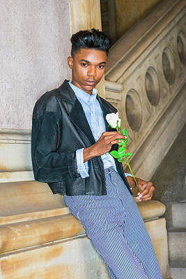 Photograph - Boy With White Rose 15042623 by Alexander Image