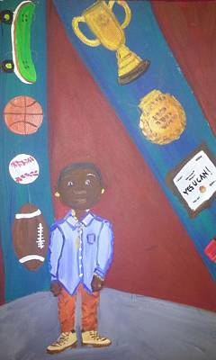 Basketball Abstract Painting - Boy Yes You Can by Autoya Vance-Liggins