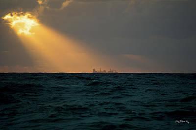 Photograph - Boynton Inlet Heavenly Sunrise Ship by Ken Figurski