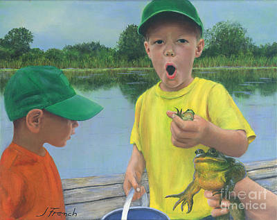Painting - Boys And Frogs by Jeanette French