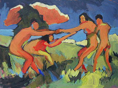 Painting - Boys And Girls Playing by Nop Briex