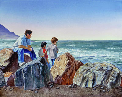 California Watercolor Artists Painting - Boys And The Ocean by Irina Sztukowski