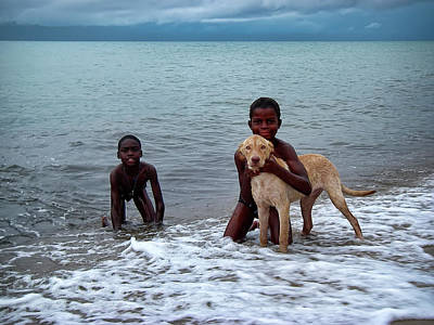 Photograph - Boys And Their Dog In The Ocean In Belize by Waterdancer