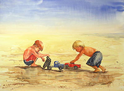 Boys And Trucks On The Beach Original