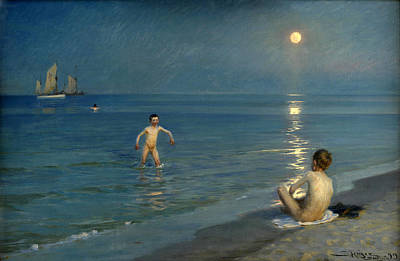 Summer Evening At Skagen Painting - Boys Bathing At Skagen. Summer Evening by Peder Severin Kroyer