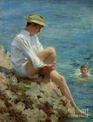 White Shirt Painting - Boys Bathing by Henry Scott Tuke
