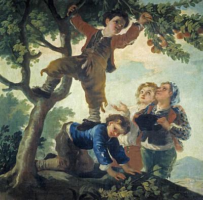 Fruit Tree Art Painting - Boys Catching Fruit by Francisco Goya