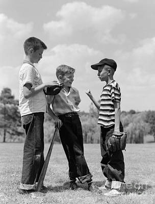 Boys Discussing Baseball, 1950s Print by H. Armstrong Roberts/ClassicStock