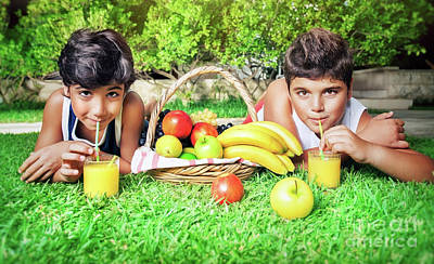 Photograph - Boys Drinking Juice by Anna Om
