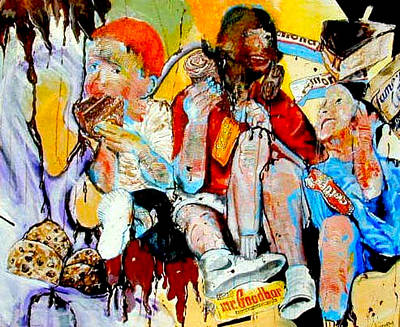 Painting - Boys Eating Chocolate by Michael  Singletary