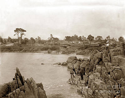 Photograph - Boys Fishing At Lovers Point, Pacific Grove 1912 by California Views Mr Pat Hathaway Archives