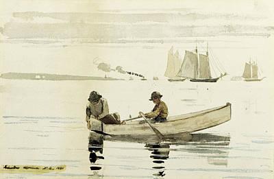 Winslow Homer Drawing - Boys Fishing by Winslow Homer