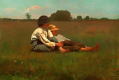 Beautiful Scenery Painting - Boys In A Pasture by Mountain Dreams