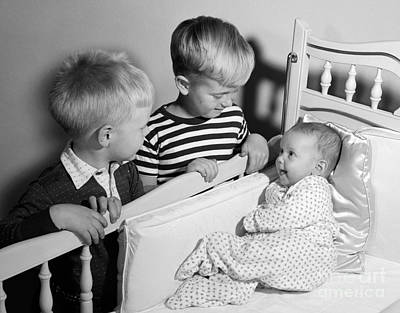 Little Sister Photograph - Boys Looking At Baby Sister, C.1950s by Debrocke/ClassicStock