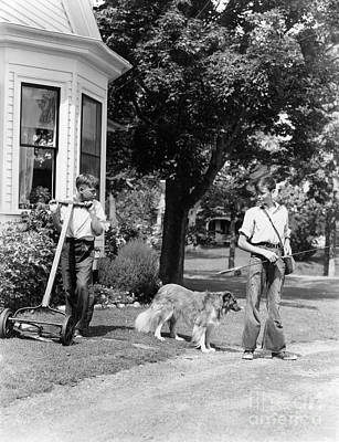 Boys Mowing Lawn And Going Fishing Print by H. Armstrong Roberts/ClassicStock