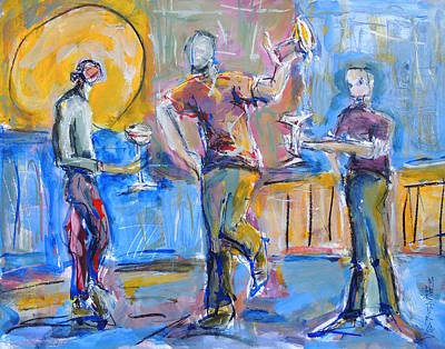 Painting - Boys Night Out by Mary Schiros