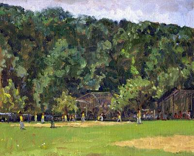 Pisarro Painting - Boys Of Summer Baseball In Inwood Nyc 8x10 Original Plein Air Impressionist Fine Art by Thor Wickstrom