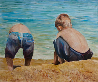 Boys On A Beach Art Print