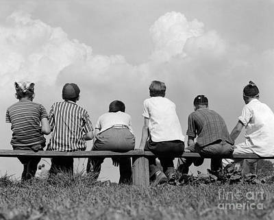 Preteen Photograph - Boys On A Bench, C. 1960s by H. Armstrong Roberts/ClassicStock