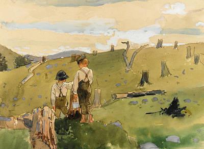 Winslow Homer Drawing - Boys On A Hillside by Winslow Homer