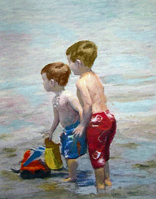 Painting - Boys On The Beach by Lamarr Kramer