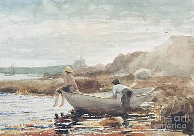 Rowboat Painting - Boys On The Beach by Winslow Homer