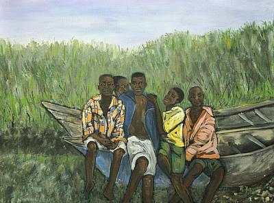 Boys Sitting On The Boat Uganda Art Print by Reb Frost