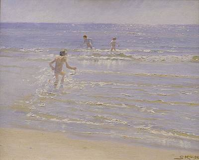 Skinny Dipping Painting - Boys Swimming by Peder Severin Kroyer