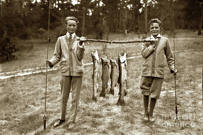 Photograph - Boys With A Line Carmel River Steelhead Cought In The Carmel Riv by California Views Mr Pat Hathaway Archives