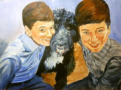 Painting - Boys With Dog by Bryan Bustard