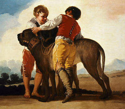 Dog In Landscape Painting - Boys With Mastiff by Goya