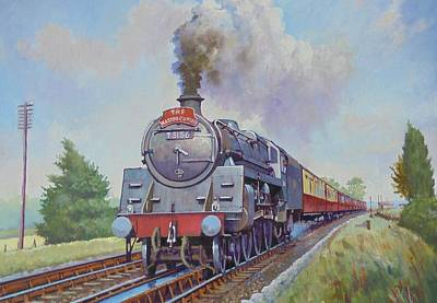 Painting - Br Standard Five 4-6-0. by Mike Jeffries