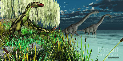 Triassic Painting - Brachiosaurus And Dilong Dinosaurs by Corey Ford