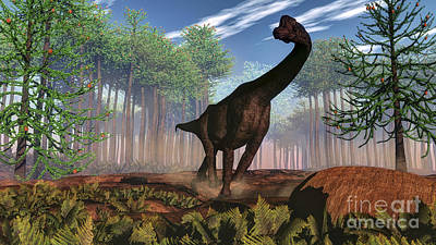 Brachiosaurus Digital Art - Brachiosaurus Dinosaur Amongst An by Elena Duvernay