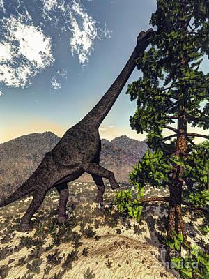 Long Leaf Pine Tree Digital Art - Brachiosaurus Dinosaur Grazing by Elena Duvernay