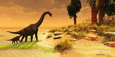 Triassic Painting - Brachiosaurus Island by Corey Ford