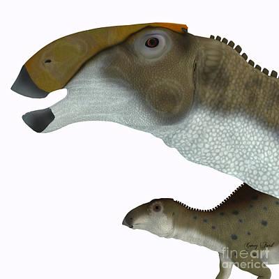 Youngster Digital Art - Brachylophosaurus Dinosaur Head by Corey Ford
