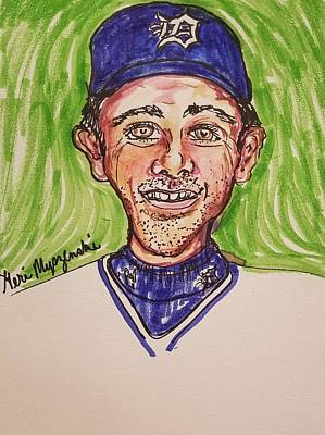 Detroit Tigers Art Drawing - Brad Ausmus  by Geraldine Myszenski